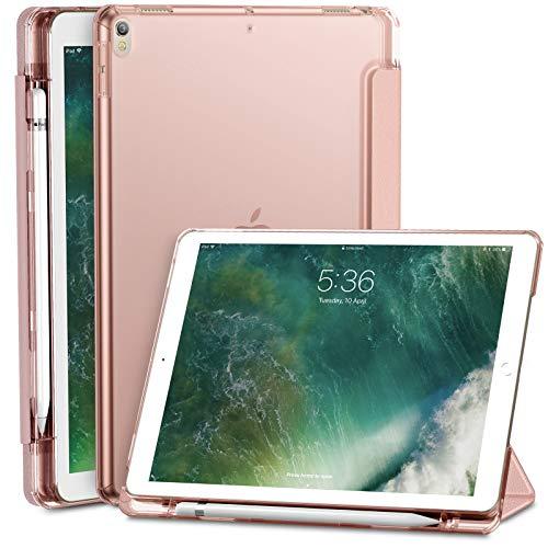 INFILAND Hülle Compatible with iPad Air (3. Generation) 10,5 Zoll 2019 / iPad Pro 10,5 mit eingebautem Apple Pencil Halter, Superleicht Schutzhülle mit Transparenter Rückseite Abdeckung, Rosa Goldene