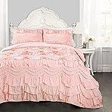 Lush Decor Kemmy Quilt - Ruffled Textured 3 Piece Full Queen Size Bedding Set, Blush