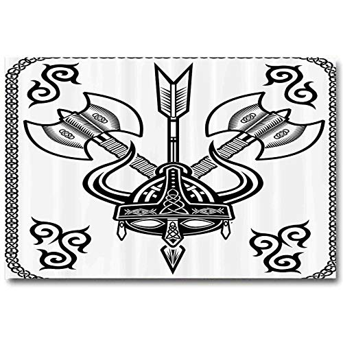 berrly Viking Classroom Wall Decor Horns Arrow and Axe Antique Celtic Style Medieval Art Monochrome Antique Motifs Gifts for Women who has Everything Black White L32 x H48 Inch