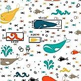 Pingianer 8,98€/m Fisch Wal Hai 100% Baumwolle 50x160cm