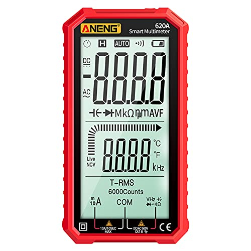 Festnight 4,7-Zoll-LCD-Display AC/DC-Digitalmultimeter Ultraportable True-RMS-Multimeter Auto-Ranging-Multitester mit Ampere Volt Ohm Kapazität Durchgang Temperatur Temperatur Diodentests NCV-Tester