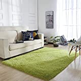 YOH Super Soft Polyester Fiber Area Rugs Silky Smooth Bedroom Mats Fluffy Shaggy Rugs for Living Room Bedroom Kids Room Nursery Home Decor Carpet Popular Colors 4 Feet by 5.3 Feet (Green)