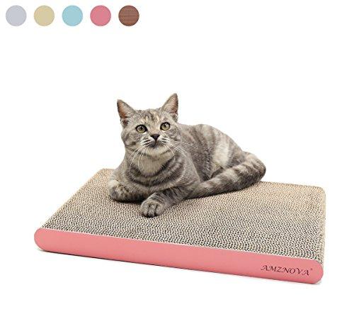 AMZNOVA Wellpappe Kratzmatten Kratzbrett für Katzen, Recycelbar Kratzpad, Kratzlounge Kratzspielzeug mit Katzenminze