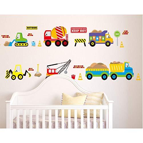 Xxscz Bouw Voertuigen Muurstickers Werken Heftruck Mixer Vrachtwagen Kraan Truck Muurstickers voor Kinderen Babies Babykamer