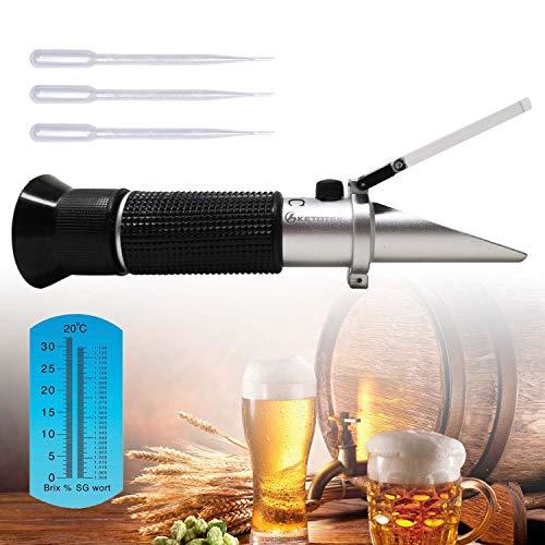 Ketotek Portable Brix Beer Refractometer with ATC for Beer Wort Wine Fruit Sugar Homebrew Meter Brix 0-32% Specific Gravity 1.000-1.130 Replace Homebrew Hydrometer…