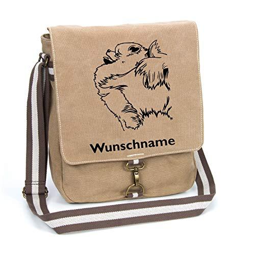 Zwergspitz Pomeranian Schultertasche Umhängetasche Tasche mit Hundemotiv und Namen personalisiert