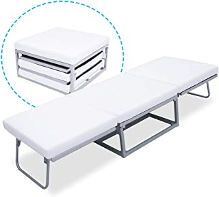 Triple Ottoman Folding Bed- Guest Bed Foam Mattress Suede Cover Denmark Design