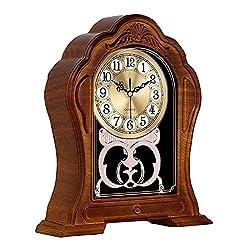 Table Clock, Antique Desk Clock, Old-Fashioned Retro Mantel Clock, Living Room Decoration Table Clock, Used for Mantel, Desktop, Office (Imitation Wood Color)