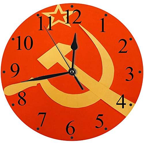 LUHUN Reloj de Pared Moderno,Bandera Comunista del CCCP con Martillo y Hoz, símbolos del comunismoreloj de Cuarzo de Cuarzo Redondo No-Ticking para Sala de Estar 30 cm