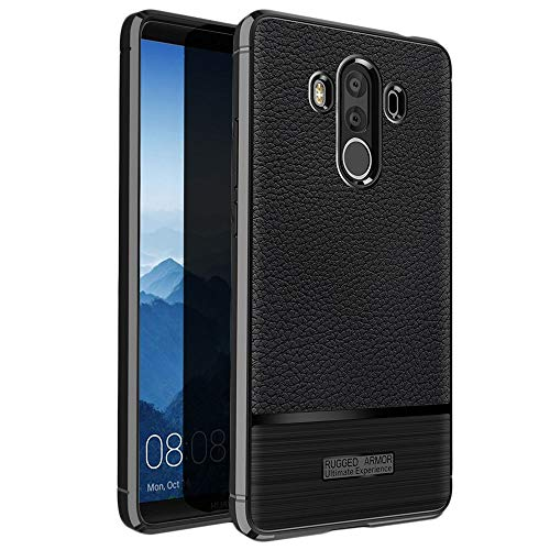 ebestStar - kompatibel mit Huawei Mate 10 Pro 2017 Hülle Mate 10 Pro 2017 Lederhülle Design TPU Handyhülle Schutzhülle, Flex Silikon Hülle, Schwarz [Phone: 154.2 x 74.5 x 7.9mm, 6.0'']