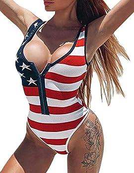 xxxiticat Women Girls Sexy American Flag Print Bathing Suits One Piece Swimwear Swimsuits Bikini RE,M  Red