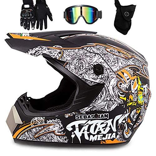 LEENP Casco de Motocross - Adulto Cascos de Motocicleta con Gafas/Máscara/Guantes, Motos...