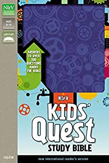 NIrV, Kids' Quest Study Bible, Leathersoft, Blue: Answers to over 500 Questions about the Bible