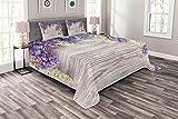 ABAKUHAUS Rustikal Tagesdecke Set, Flieder blüht Blumenstrauß, Set mit Kissenbezügen Waschbar, für Doppelbetten 220 x 220 cm, Violett Taupe