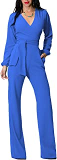 Jojckmen Women V Neck Playsuits Girl Long Sleeve Lace up Romper Wide-Legged Jumpsuits