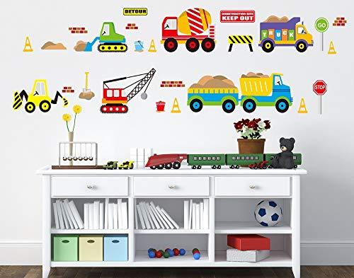 Autocollant Mural Véhicules De Construction Stickers Travailler Chariot Élévateur Camion Pelle Excavator Crane Truck pour Enfants Bébés Infant Room