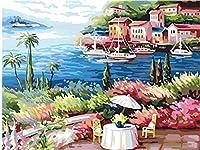 """番号でペイント 休暇 3つの絵筆で絵筆を描く子供初心者大人のためのDIY油絵キット–家の壁の装飾のための16""""W x 20"""" Lフレームレス"""