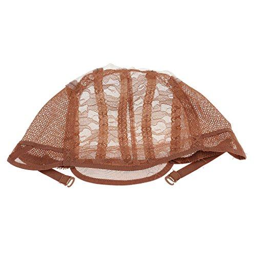 perfeclan Bonnet Perruque Femme Chapeau Dentelle Elastique Bonnet de Bain Marron