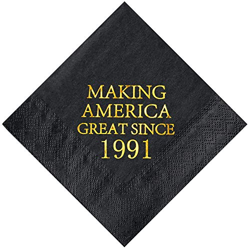 Crisky 30th Birthday Disposabel Napkins Black and Gold Dessert Beverage Cocktail Cake Napkins 30th Birthday Decoration Party Supplies for Man Making Great Since 1991, 50 Pack 4.9x4.9 Folded