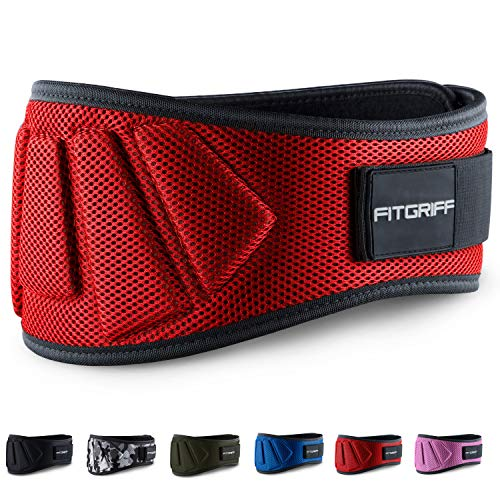 Fitgriff® Cinturón Gym V1 - Cinturon Gimnasio, Musculación, Halterofilia, Crossfit, Levantamiento Pesas, Fitness - Mujeres y Hombres - Red Large