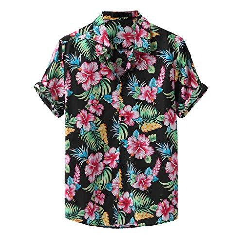 Yowablo Hemden Männer Mode gedruckt Turn Down Kragen Kurzarm Casual (S,1Grün)