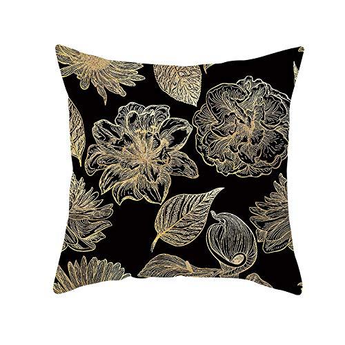 Cojines Funda de cojín Decorativa Hoja Dorada Negra Almohada Funda de Almohada Poliéster 50 × 50cm con núcleo de Almohada