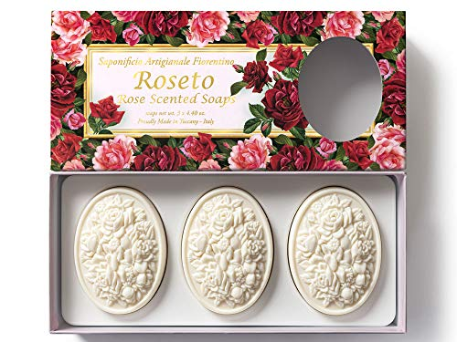 Saponificio Artigianale Fiorentino, Rosengarten, handgemachte italienische Rosenseife aus Fiorentino, 3x125g
