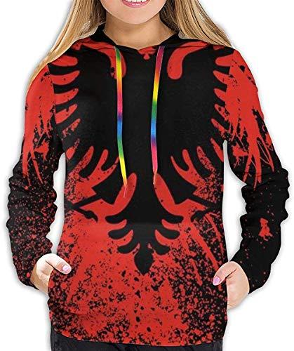 ZharkLI Athletic Pullover Sweatshirt Sportbekleidung für Frauen Mädchen Damen Gr. L, Albanische Flagge Adlervogel, Rot / Schwarz