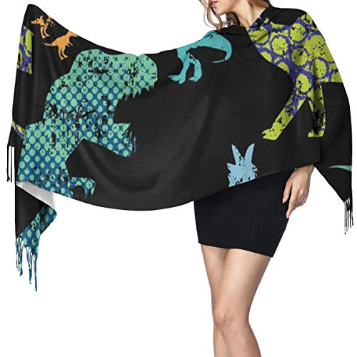 Womens Warm Long Shawl Wraps Large Scarves,Seamless Dino Knit Cashmere Feel Scarf for Christmas