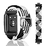 SeNool Correas Compatible con Huawei Watch Fit Pulseras Reloj Banda Nailon Trenzada Loop Hebilla Ajustable de Repuesto para Huawei Watch Fit Blanco Negro