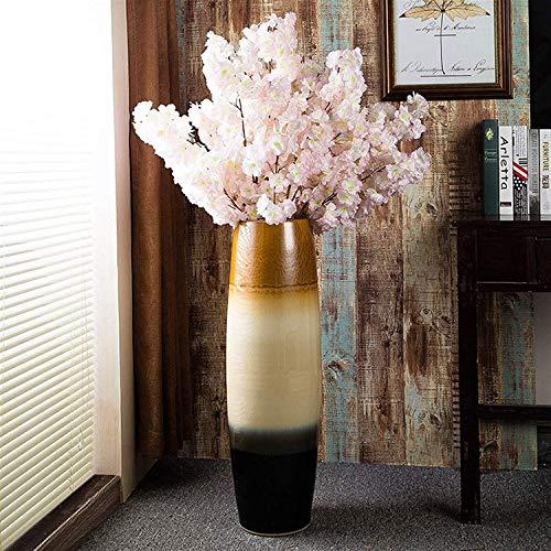 Vase Dekoration Terrasse Ceramic Hotel Villa Boden Standing Große Blume Dekoration für Dekoration Büro Party Restaurant JXLBB (Size : 50x16cm)