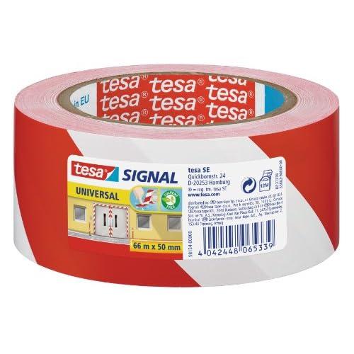 Tesa 58134-00000-00 Nastro Adesivo da Segnalazione, Bianco/Rosso
