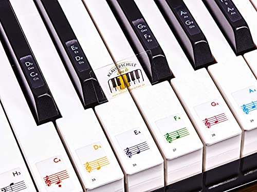 Premium Aufkleber für Klaviertasten | Klavier Aufkleber/Keyboard Aufkleber auf deutsch inkl. Anleitung + E-Book | für 49/61 / 76/88 Tasten | weiße + schwarze Tasten | Transparent [JL-T88]