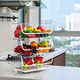 TOLEAD Screws Free 3 Tier Spice Rack Fruit Wire Basket Kitchen Organizer Heavy Duty Countertop...