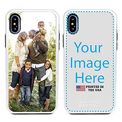 Guard Dog Custom iPhone Xs Max Cases Personalized - Make Your Own Protective Hybrid Phone Case. (White, Black)