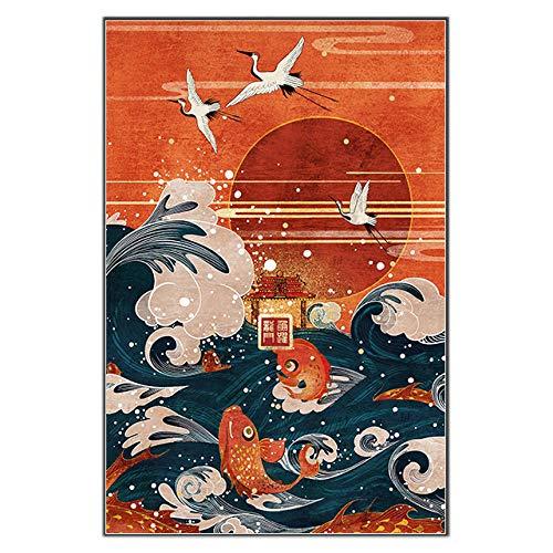 YCHND Wave Crane Cyprinoid Red Sun Canvas Art Print Paisaje Póster Estilo japonés Pintura Imágenes de Pared Sala de Estar Decoración de la Pared del hogar 50x70cm Sin Marco