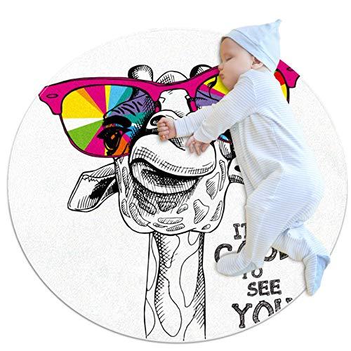 PLOKIJ Alfombra de círculo para niños, utilizada en la habitación familiar, sala de estar, sala de juegos, decoración de suelo, ciervo divertido con gafas de colores.