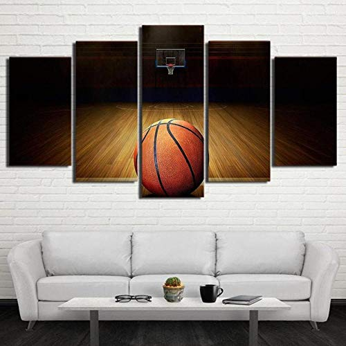 BHJIO 5 Piezas Cuadro sobre Lienzo Imagen Baloncesto Impresión Pinturas Murales Decor Fotos para Salon Dormitorio Baño Comedor Regalo 80X150Cm