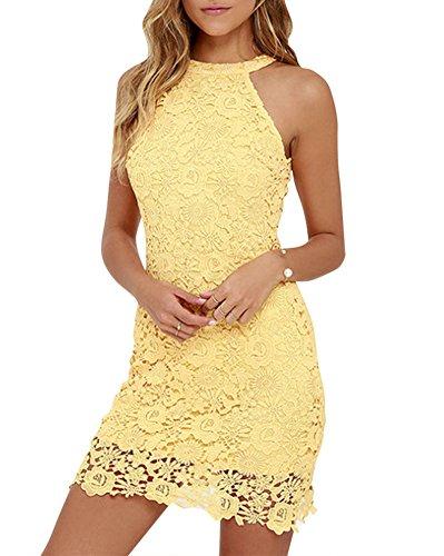 Mujeres Vestido Encaje Bodycon Corto sin Mangas Casual Slim Falda para Fiesta Mini Vestido Amarillo M
