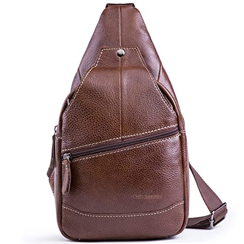 Genuine Leather Shoulder Sling Backpack Bag Unisex Outdoor Crossbody Sling Pack Sport Daypack