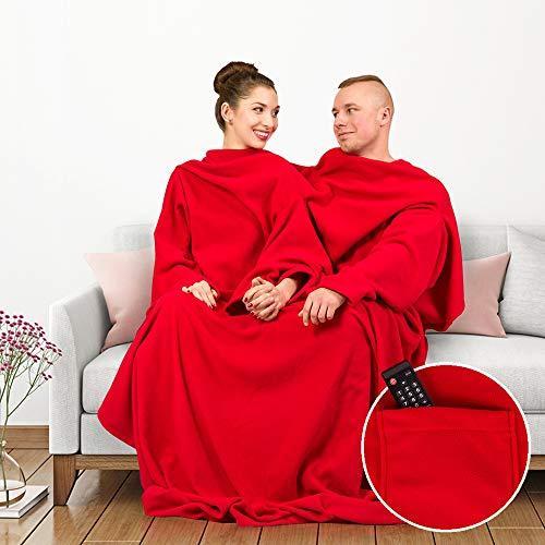 Monsterzeug XXL Pärchendecke mit Ärmeln, Kuscheldecke für Paare, Plüschdecke mit Armfreiheit für zwei Personen, Romantisches Geschenk