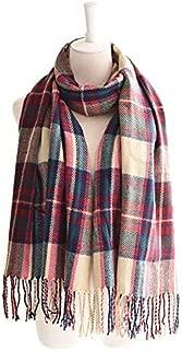WUNONG-AU Winter Warm Geometry Retro Gorgeous Shawl Fashion Tassel Lattice Scarf (Color : Pink, Size : 200cm)