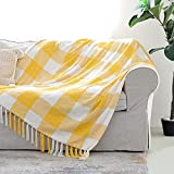 Yellow White Buffalo Plaid Decor Blanket, Lightweight Soft Chenille Check Knitted Rustic Farmhouse Throw with Tassels for Couch Sofa Chair Bed Office Home, Mustard and Ivory, 50' x 60'