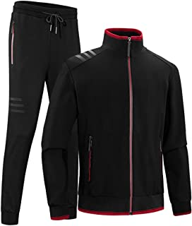 INVACHI Men's Casual 2 Pieces Contrast Cord Full Zip Sports Sets Jacket & Pants Active Fitness Tracksuit Set