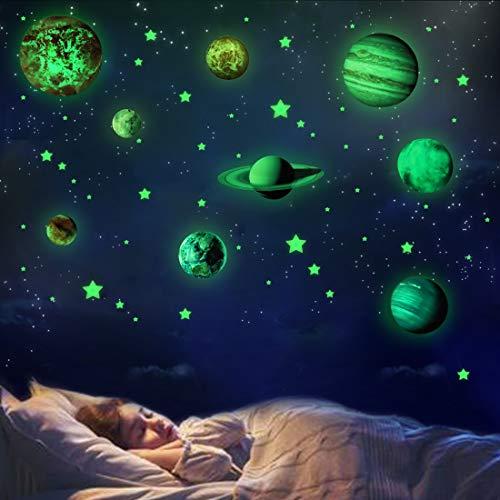 Luminoso Pegatinas de Pared Planetas y Estrellas Fluorescente Decoración de Pared para Dormitorio de Niños Chico Niña Bebé Infantil Regalos de Cumpleaños de Navidad