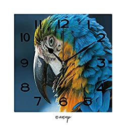 FashSam Print Square Wall Clock, 8 Inch Blue and Yellow Macaw Close Up Quiet Desk Clock for Home,Office,School No-28234