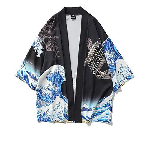 Yowablo Shirts Herren Baumwolle Leinenhemd Herbst Winter Herren Hemd Langarm Regular Fit Freizeithemd Kimono Cardigan Oversize Shirts gedruckt (M,1Schwarz)