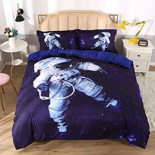 Enjohos Bettwäsche-Set mit blauem Astronauten-Motiv für Kinder, Doppelbett-Größe, für Jungen Full-3PCS Weltraum-Astronauten