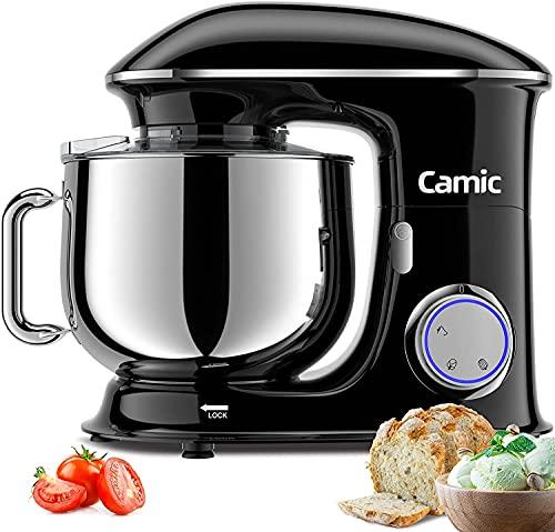 1500W Küchenmaschine Knetmaschine Camic 8L Küchenmaschine Rührgerät Multifunktionsmischer geräuscharm leistungsstark und professionell, 6 Geschwindigkeiten mit Impuls, Edelstahlschüssel, (Schwarz)