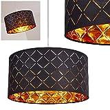 Iluminación de techo Meldal de tela en negro y oro, lámpara de techo con forma redonda, para salón, dormitorio, comedor, casquillo E27, apto para LED